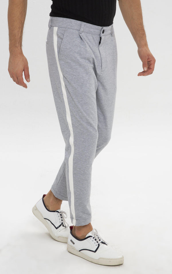 Pleated Striped Chain Fitted Pants - Grey Melange