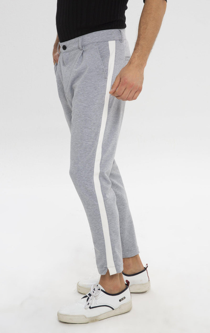 Pleated Striped Chain Fitted Pants - Grey Melange - Ron Tomson