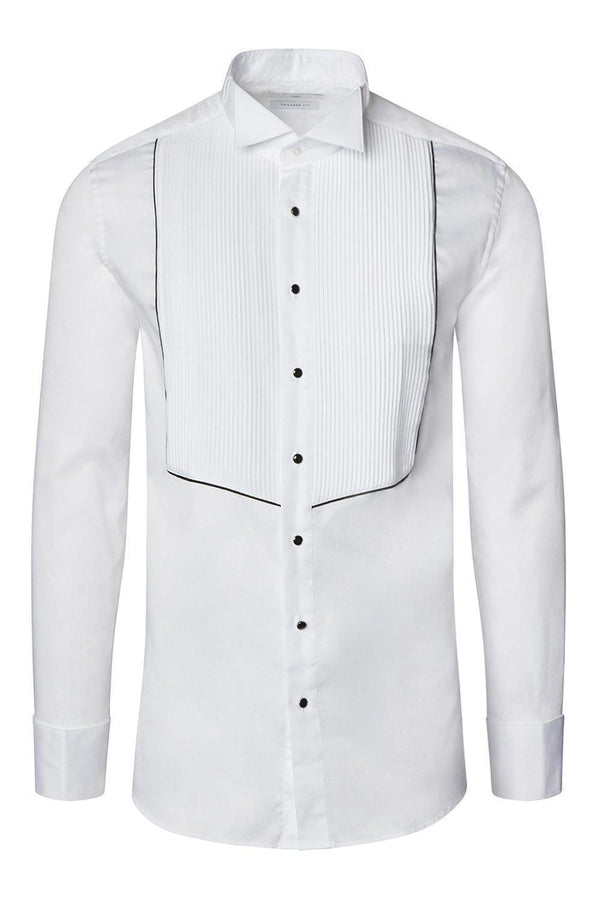 Pleated Wing Tip Collar Shirt - White Black