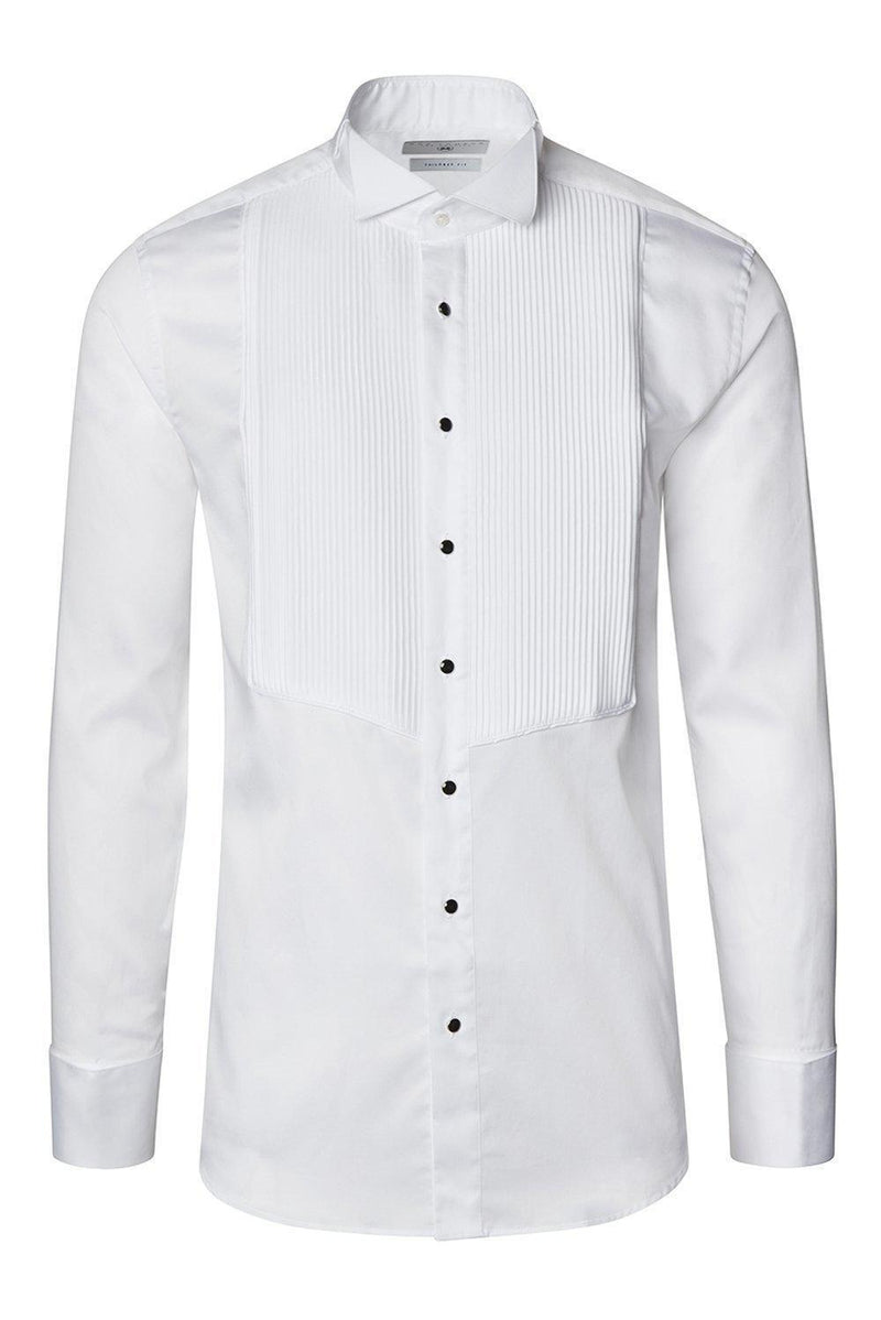 Pleated Wing Tip Collar Shirt - White - Ron Tomson