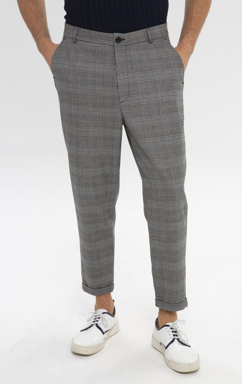 Prince of Wales Chain Fitted Cuffed Pants - Grey Mustard - Ron Tomson