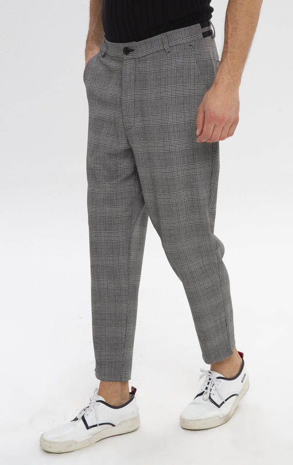 Prince of Wales Chain Fitted Pants - Grey Black - Ron Tomson