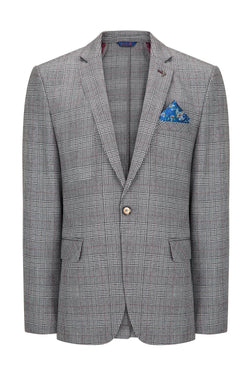 Prince of Wales Grey Burgundy Blazer