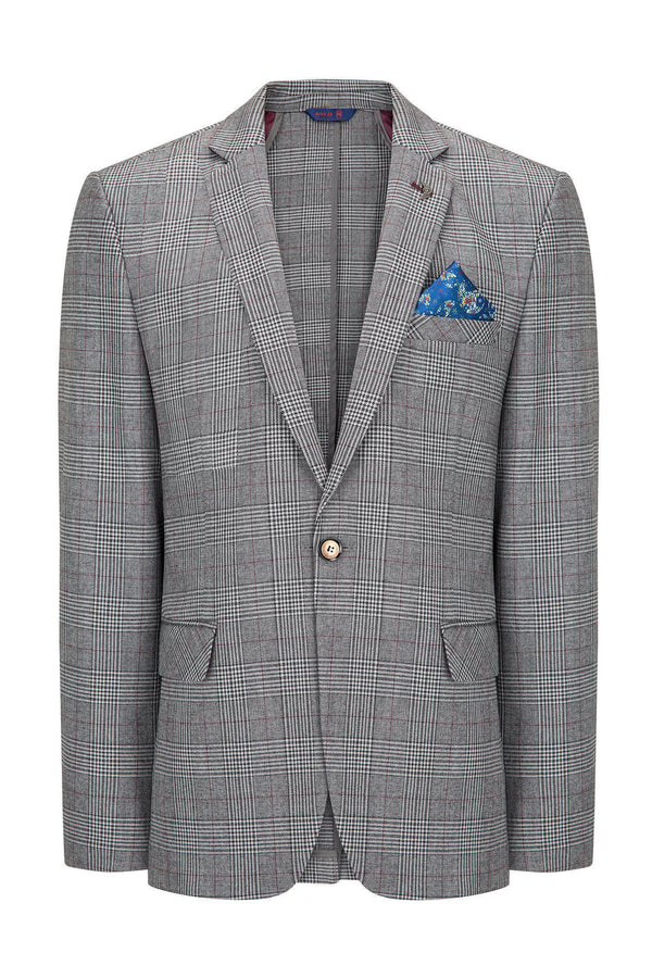 Prince of Wales Grey Burgundy Blazer - Ron Tomson