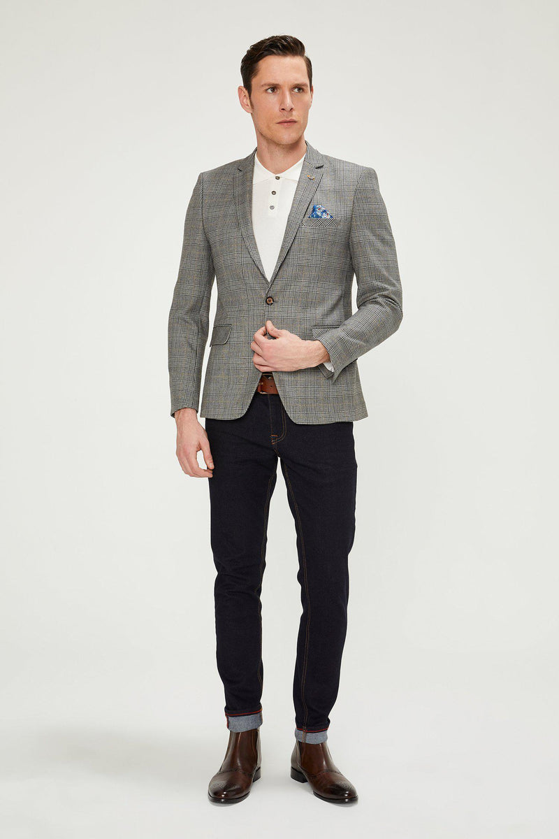 Prince of Wales Grey Yellow Blazer - Ron Tomson
