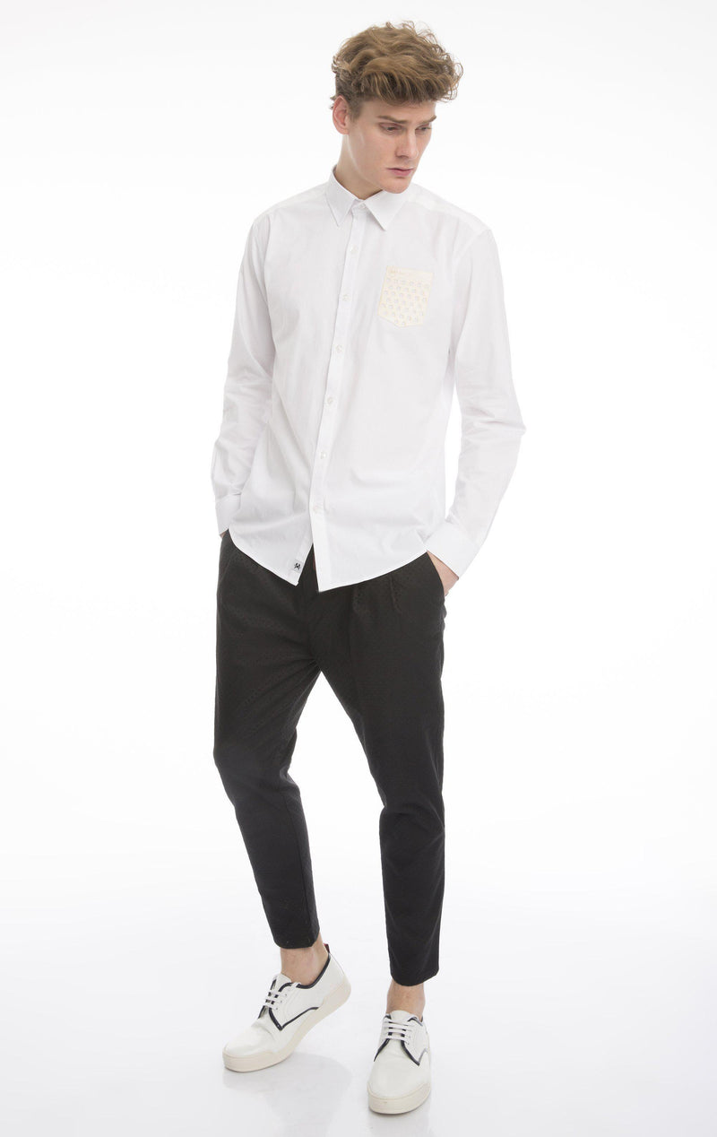 Punched Pocket Fitted Shirt-Shirts-Ron Tomson-WHITE-M-Ron Tomson