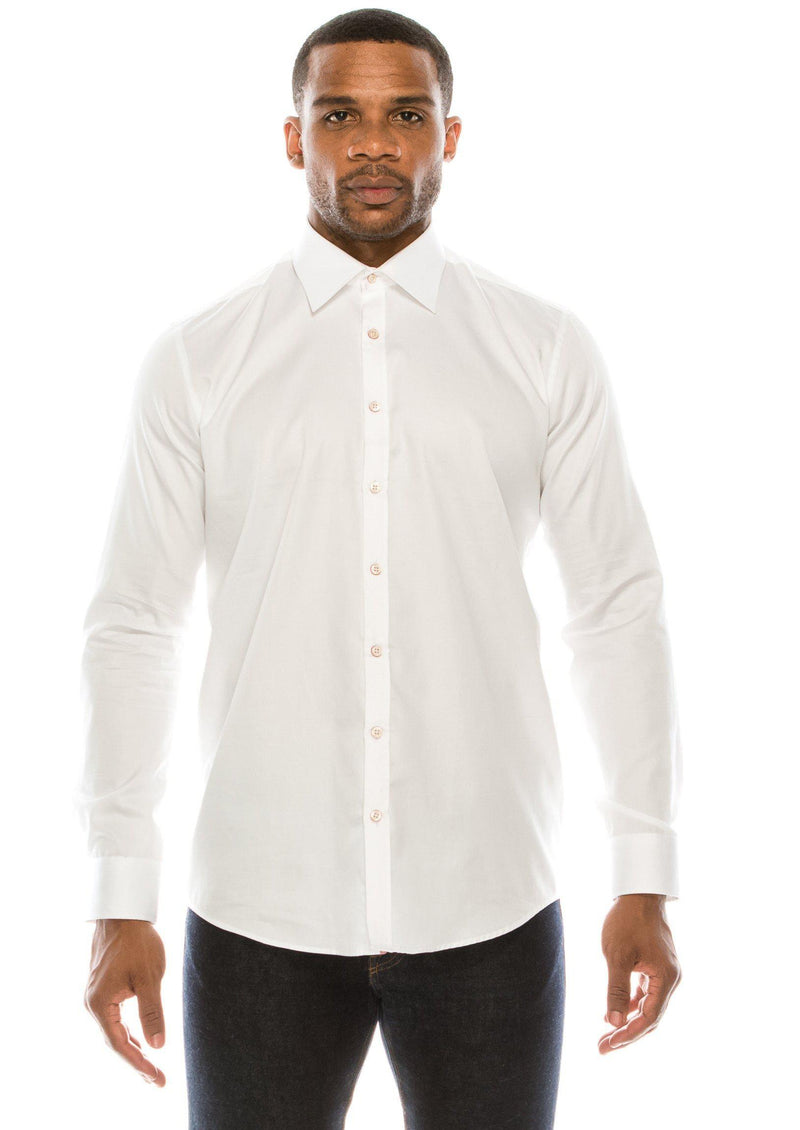 Pure Cotton Contrast button dress shirt - White Red - Ron Tomson