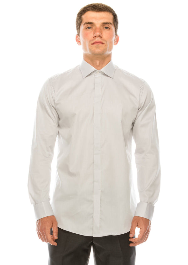 Pure Cotton Hidden Placket Shirt - Grey - Ron Tomson