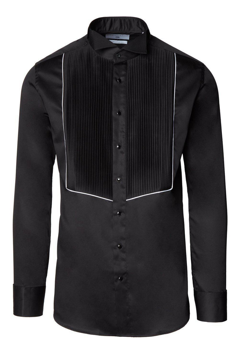 Pure Cotton Pleated Wing Tip Collar Shirt - Black White - Ron Tomson