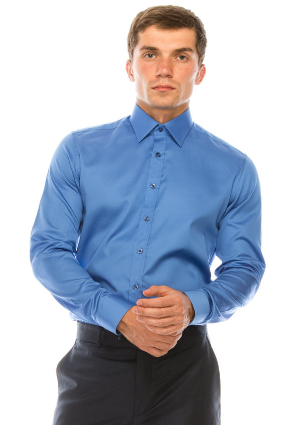 Pure Cotton Sateen Dress Shirt - Blue - Ron Tomson