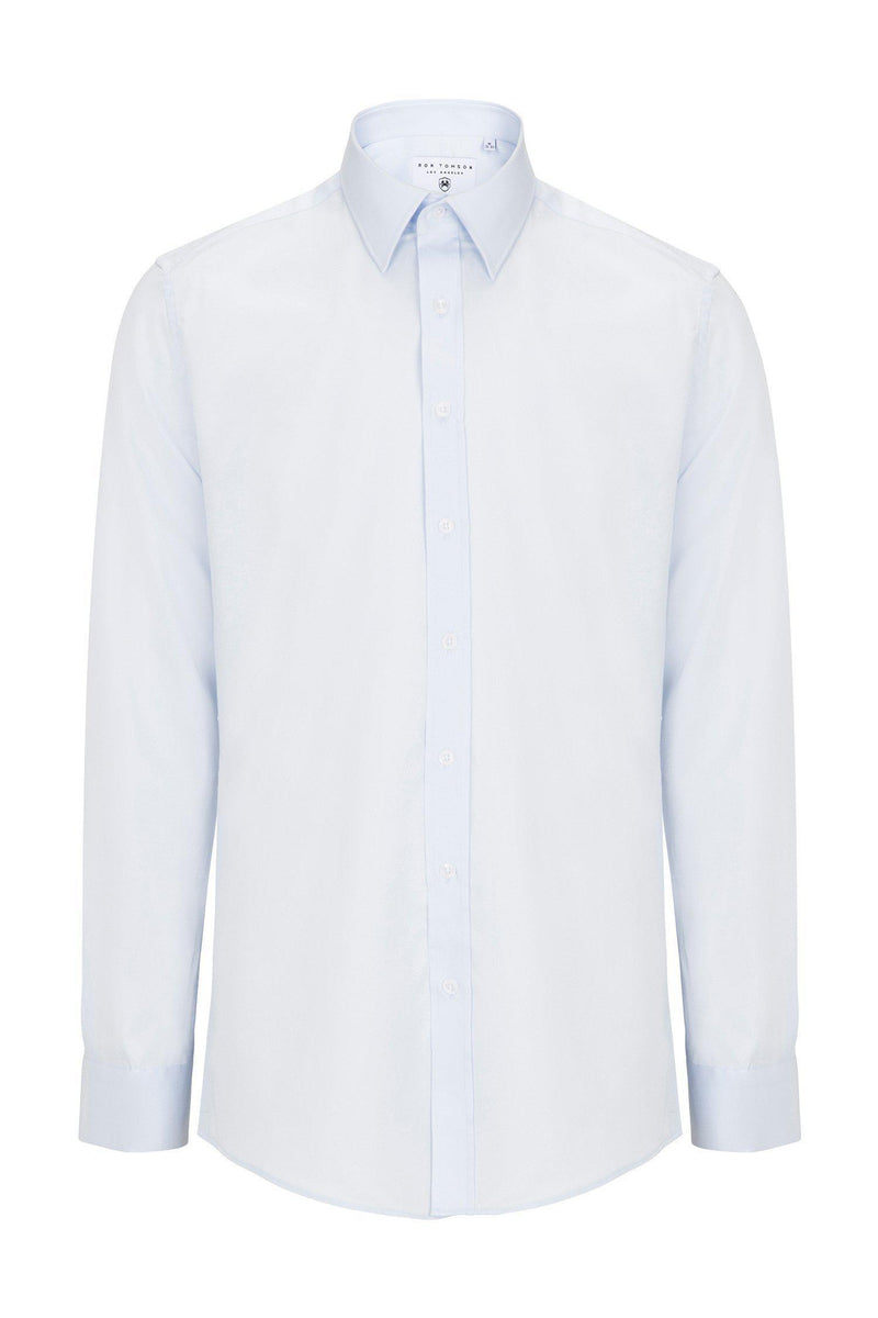 Pure Cotton Sateen Dress Shirt - Light Blue - Ron Tomson