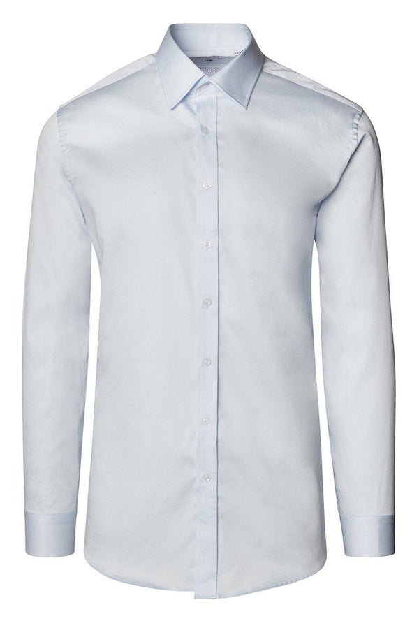Pure Cotton Sateen Dress Shirt - Light Blue