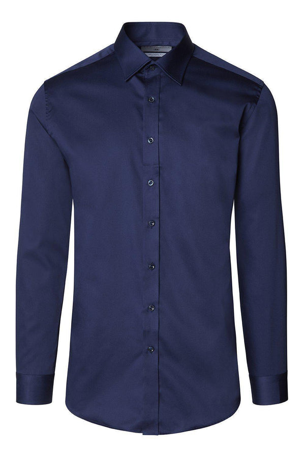 Pure Cotton Sateen Dress Shirt - Navy - Ron Tomson