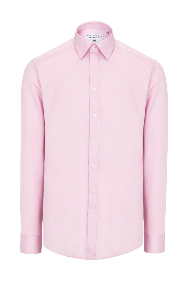 Pure Cotton Sateen Dress Shirt - Pink