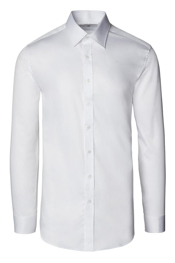 Pure Cotton Sateen Dress Shirt - White - Ron Tomson