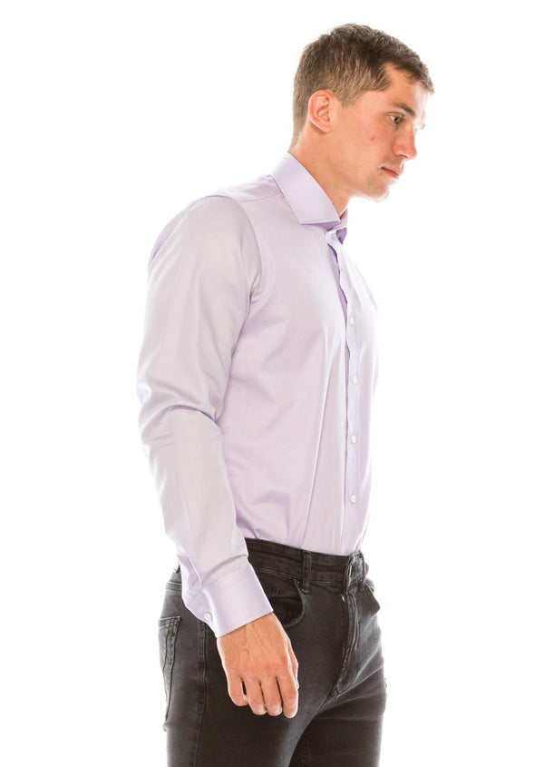 Pure Cotton Spread Collar Fitted Dress Shirt - Lavender