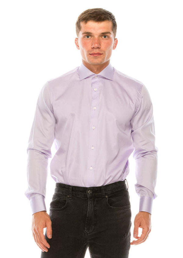Pure Cotton Spread Collar Fitted Dress Shirt - Lavender - Ron Tomson