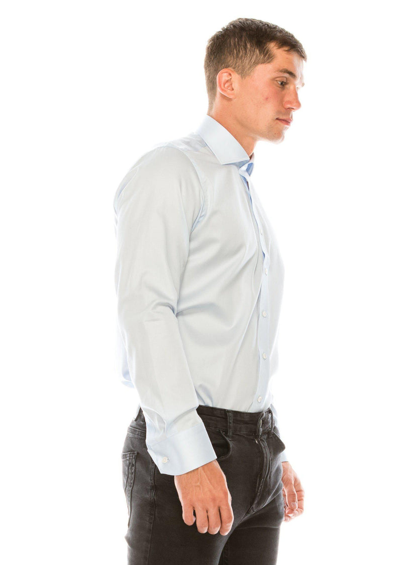 Pure Cotton Spread Collar Fitted Dress Shirt - Light Blue - Ron Tomson