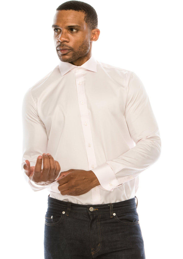 Pure Cotton Spread Collar Fitted Dress Shirt - Light Pink - Ron Tomson
