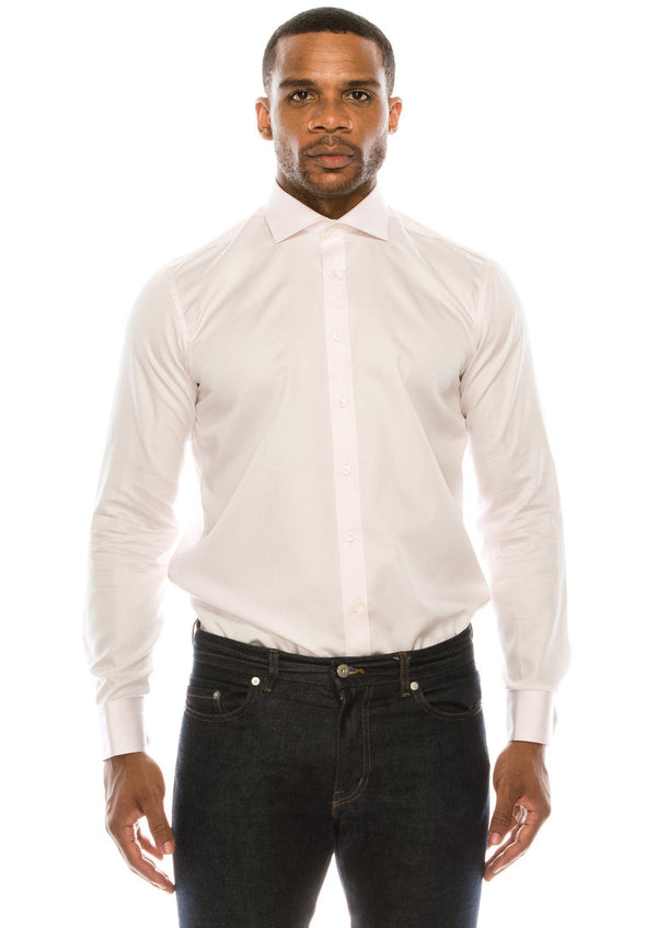 Pure Cotton Spread Collar Fitted Dress Shirt - Light Pink