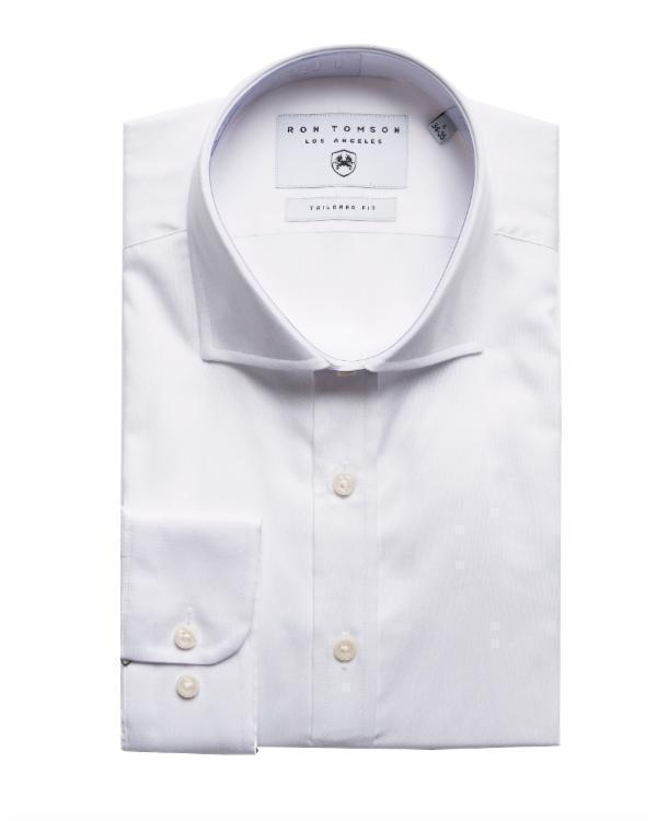 Pure Cotton Spread Collar Fitted Dress Shirt - White