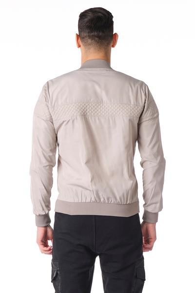 Quilted Full -Zip Bomber Jacket - Grey - Ron Tomson