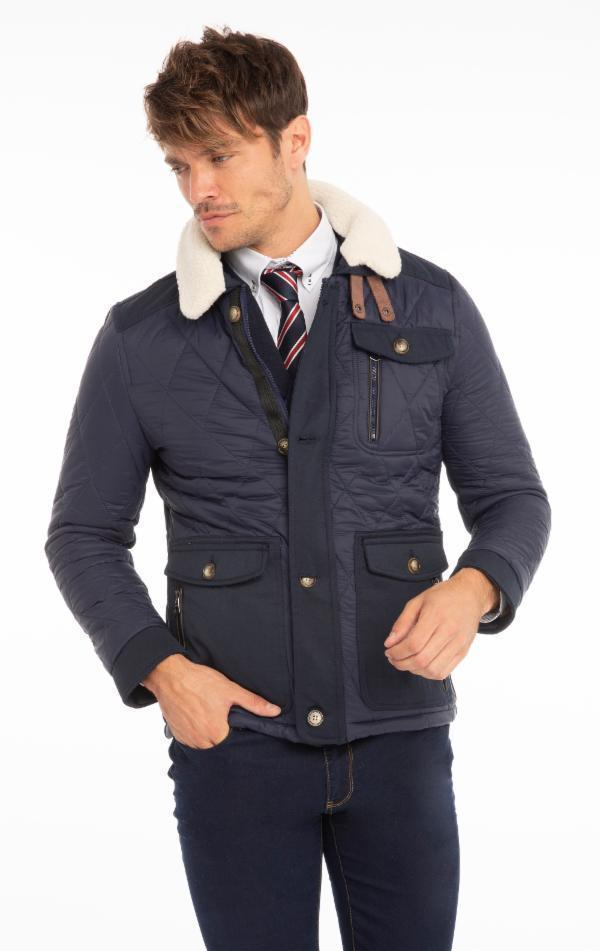 Quilted Puffer Jacket - Navy