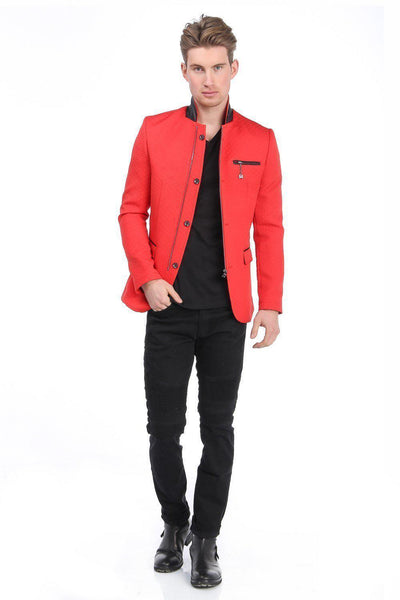 Quilted Zip Button Jacket - Red