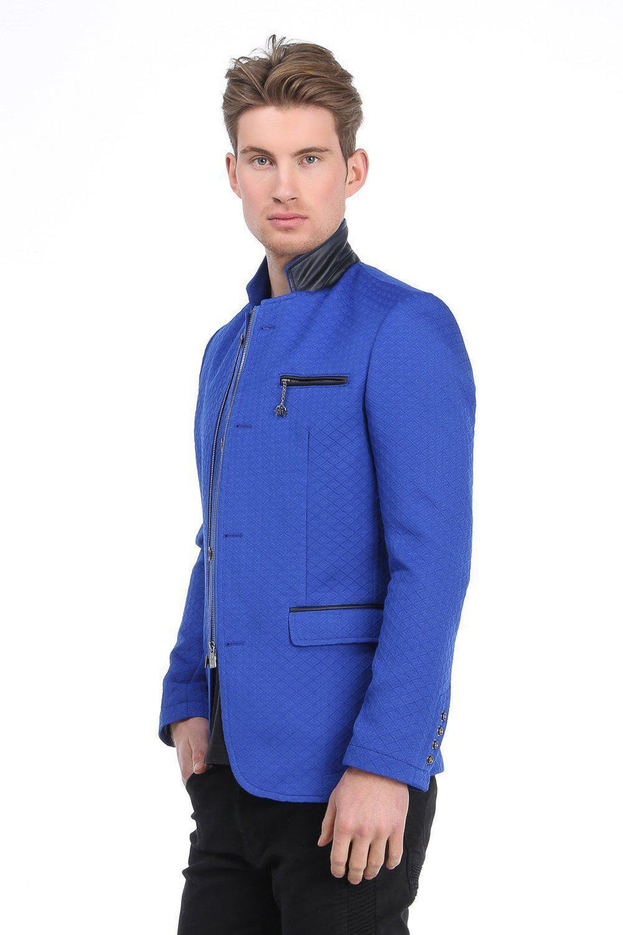 Quilted Zip Button Jacket - Sax