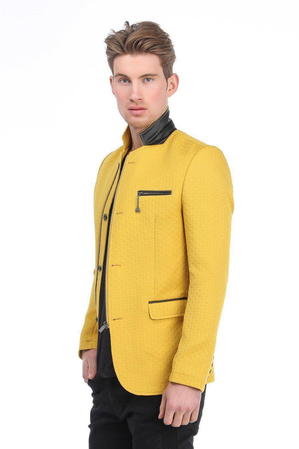 Quilted Zip Button Jacket - Yellow