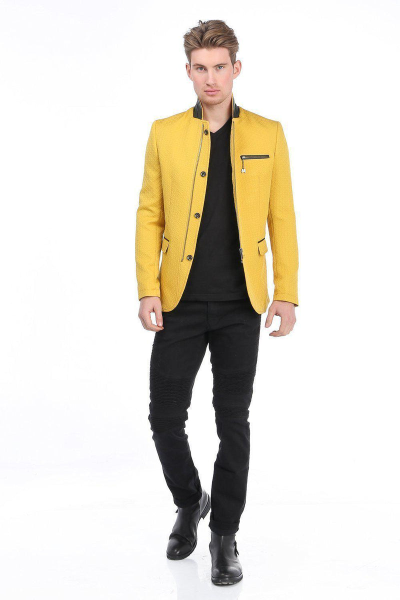 Quilted Zip Button Jacket - Yellow - Ron Tomson