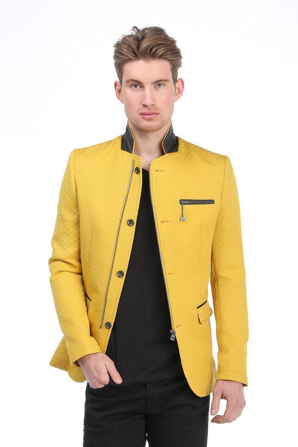 5659-Quilted Zip Button Jacket - More Colors-Jackets-Ron Tomson-YELLOW-S-Ron Tomson