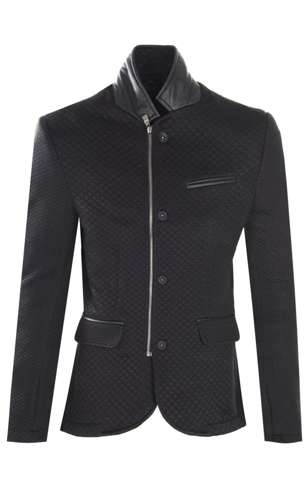 Quilted Zip Button Sports Coat - BLACK