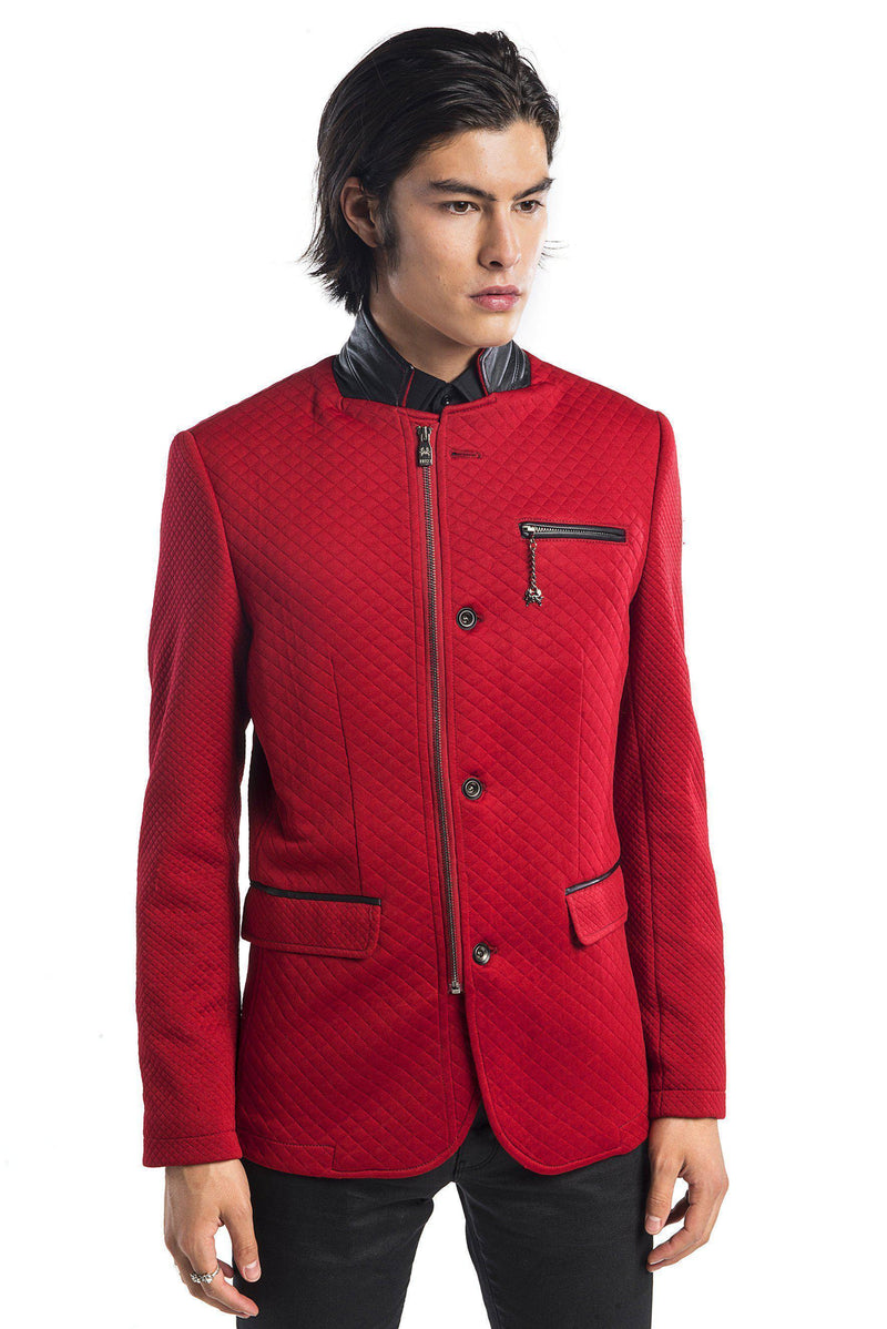 Quilted Zip Button Jacket - More Colors-Jackets-Ron Tomson-RED-M/38-Ron Tomson