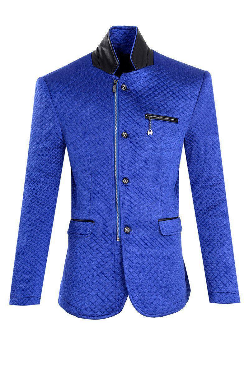 Quilted Zip Button Sports Coat - SAX - Ron Tomson