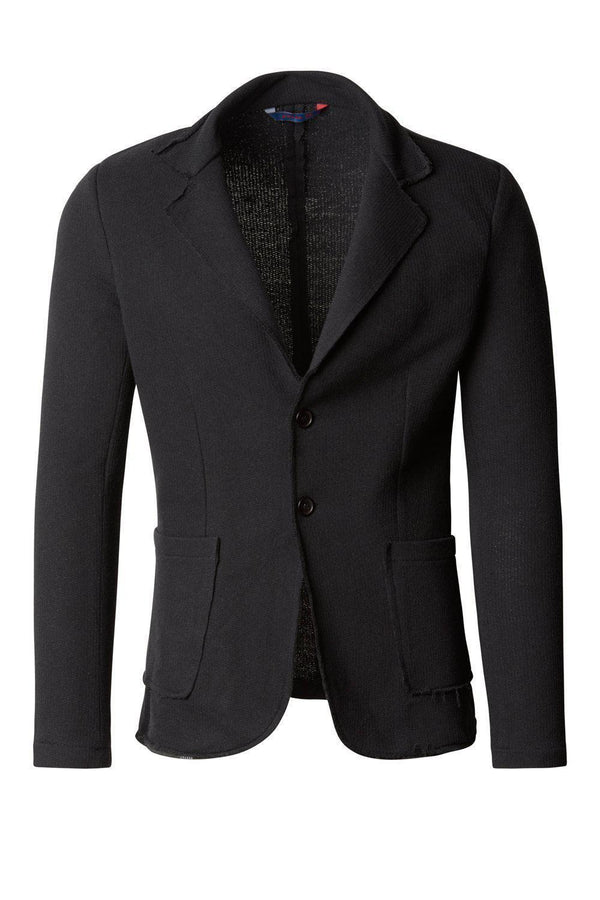 RAW EDGE FITTED CARDIGAN - BLACK BLACK - Ron Tomson