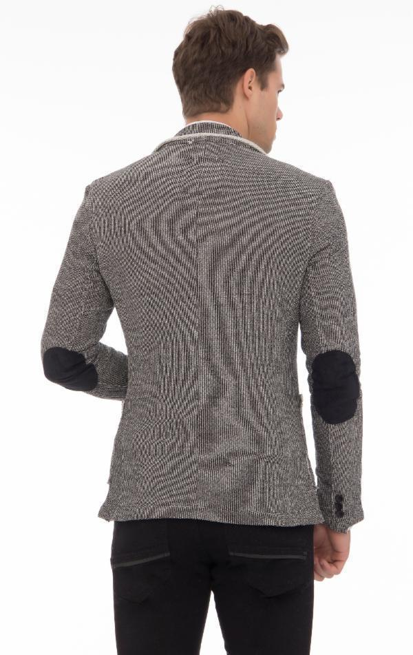 RAW EDGE FITTED CARDIGAN - WHITE BLACK