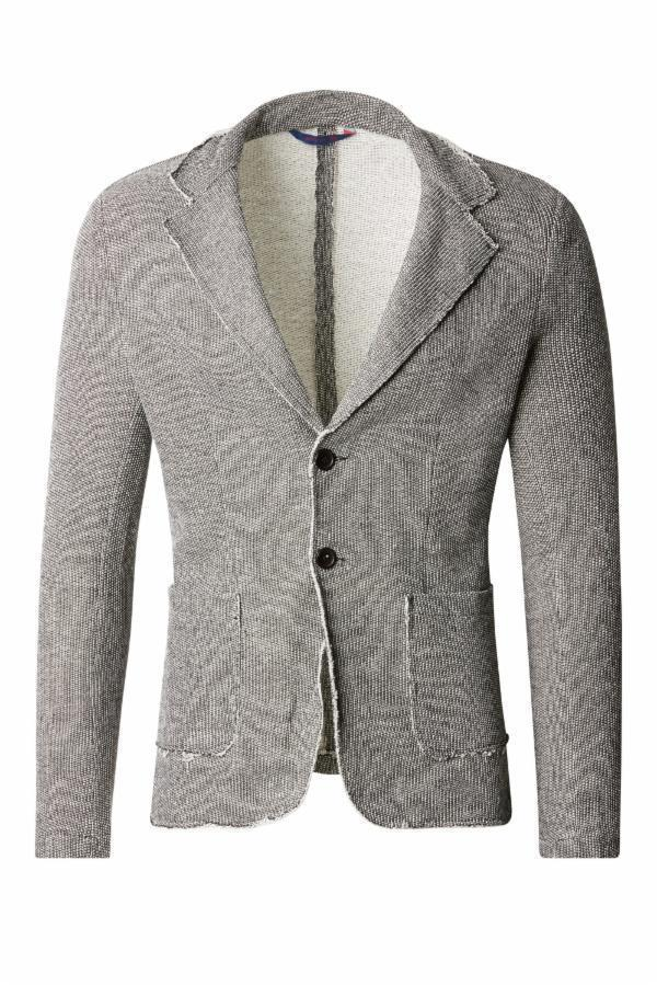RAW EDGE FITTED CARDIGAN - WHITE BLACK - Ron Tomson