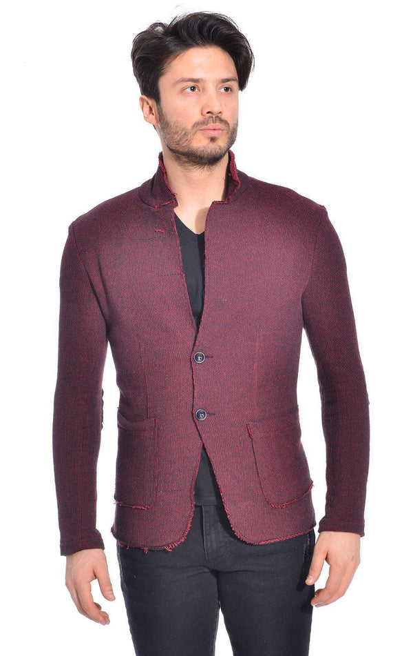 RAW EDGE FITTED CARDIGAN - WINE - Ron Tomson