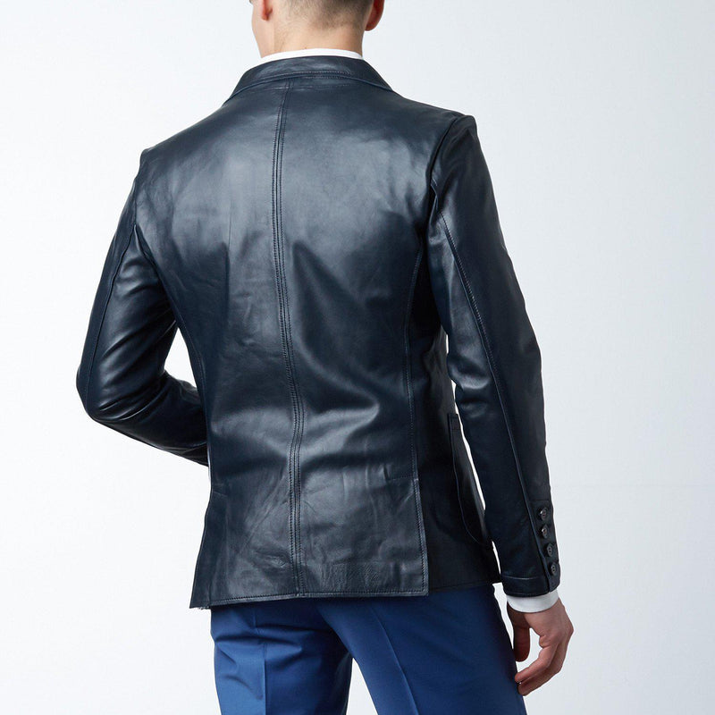 Raw-edge Fitted Leather Blazer