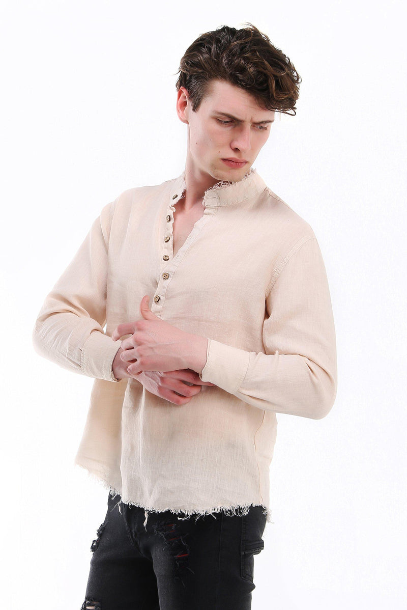 Raw Edge Henley Linen Shirt - More Colors-Shirts-Ron Tomson-STONE-M-Ron Tomson