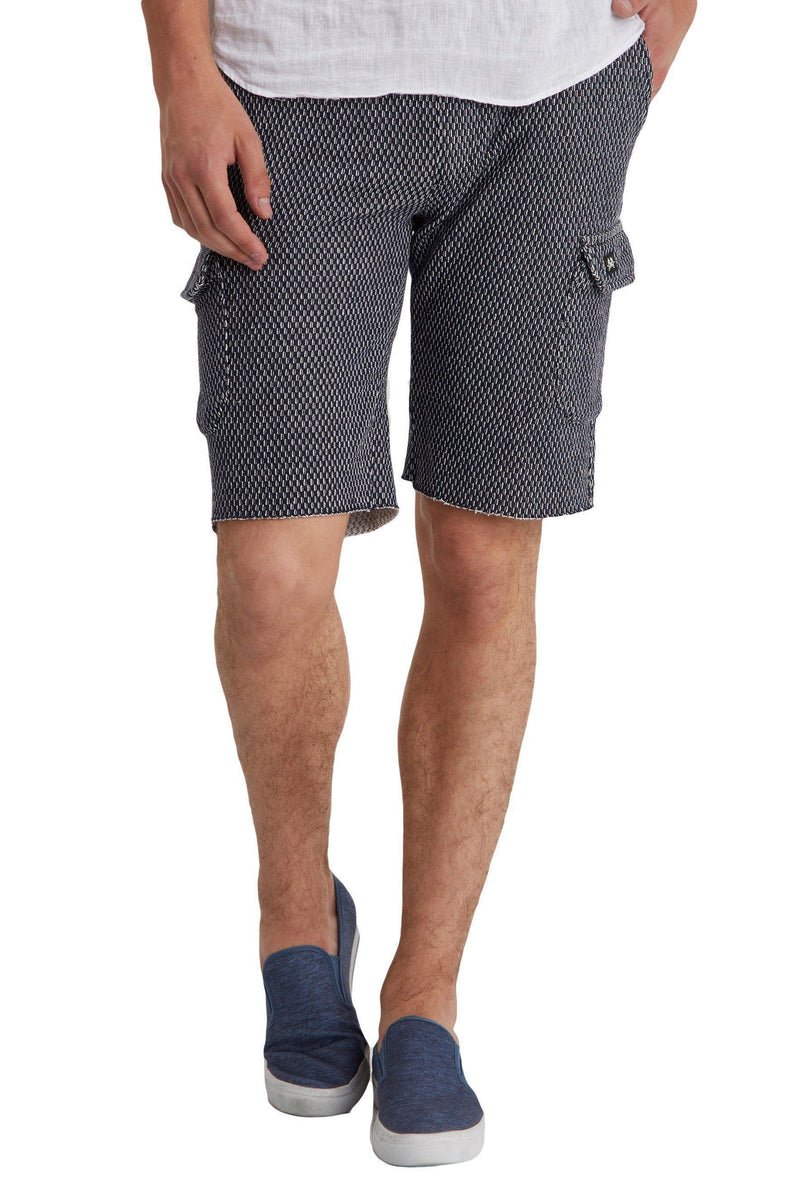 Raw Hem Casual Trainer Shorts - More Colors-Jeans-Ron Tomson-NAVY WHITE-M-Ron Tomson