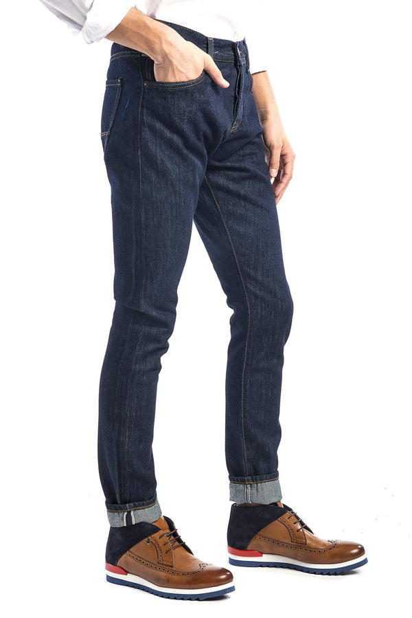 Raw Indigo Slim Selvedge Jeans -Mustard Yellow Stitch-Jeans-Ron Tomson-DARK NAVY-29-Ron Tomson