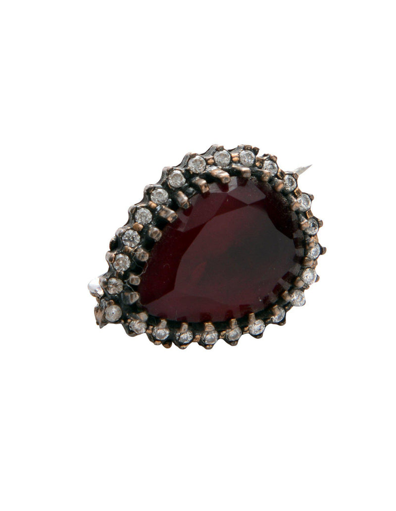 Red and Clear Stones Pendant Brooch