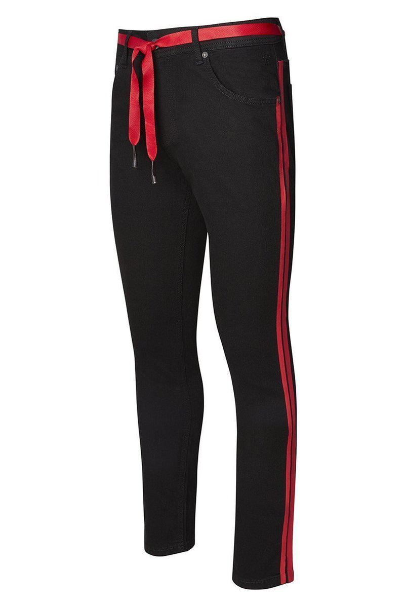 Red Side Stripe Slim Fit Jeans- Black Red