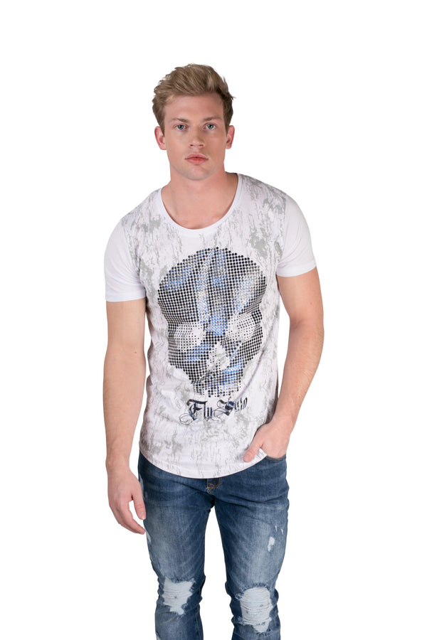 Reflect Skull Printed Mens T-shirt-T-shirts-RON TOMSON-WHITE-S-Ron Tomson