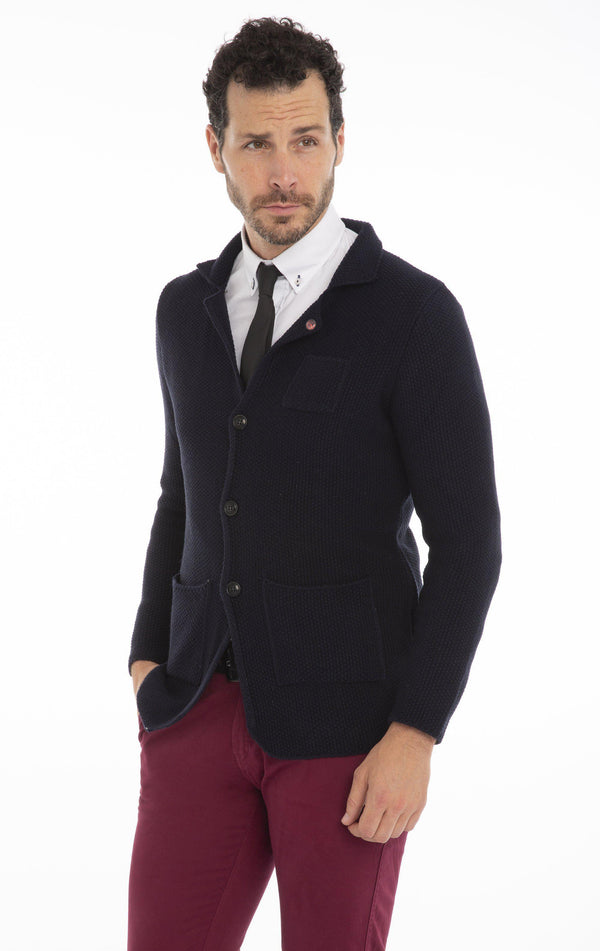 Relaxed Knit Two-Button Cardigan - Navy - Ron Tomson