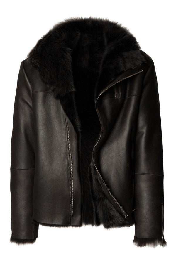 REVERSIBLE GENUINE LEATHER SHEARLING JACKET - BLACK