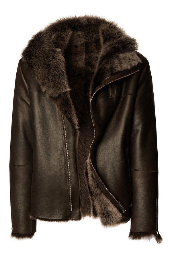 REVERSIBLE GENUINE LEATHER SHEARLING JACKET