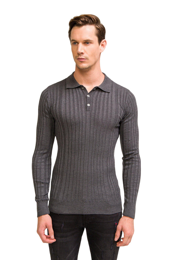 Ribbed L/S Polo - Anthracite - Ron Tomson